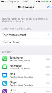 Ordre des notifications