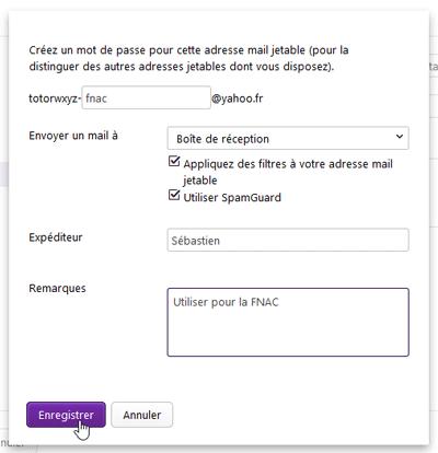 Paramètres adresse jetable Yahoo! Mail