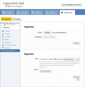 Exporter les contacts