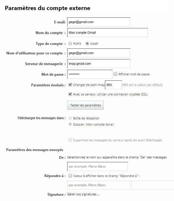 Paramètres du compte externe