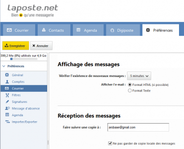 Redirection des messages