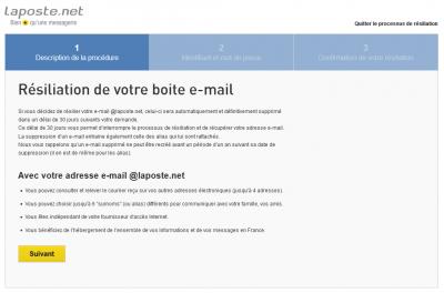 Résiliation du compte LaPoste.net