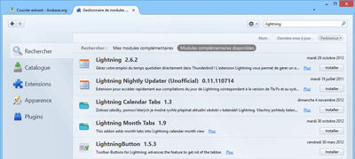 Fenêtres des modules complémentaires