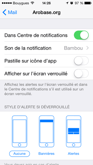 Notifications par compte