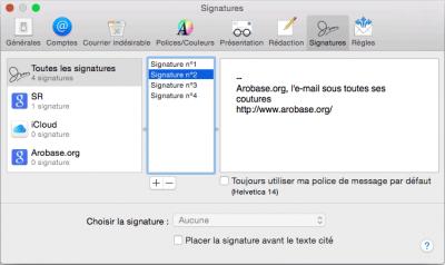 Préférences - Signatures