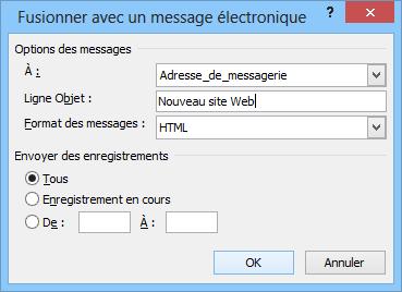 Fusionner avec un message électronique
