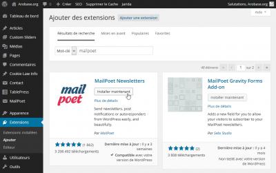 Ajouter l'extension MailPoet