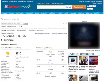 Prévisions météo MSN