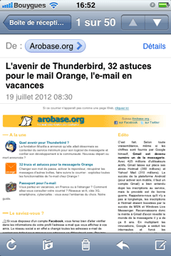 Newsletter sur iPhone