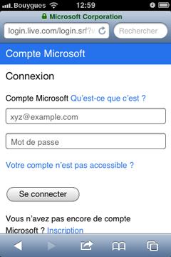 Connexion Compte Microsoft