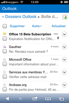 Outlook.com mobile