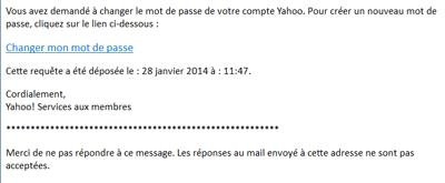 E-mail pour changer le mot de passe