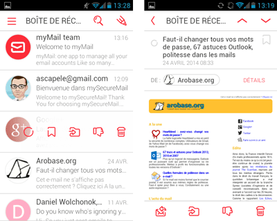 myMail pour Android