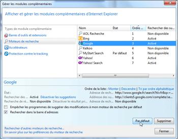 Modules complémentaires d'Internet Explorer