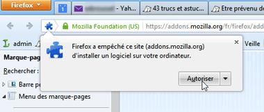 Avertissement Firefox