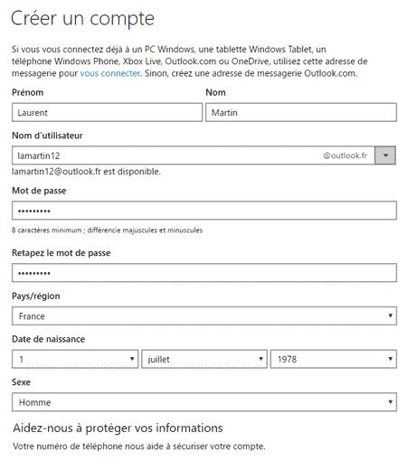Formulaire de création de compte Outlook.com