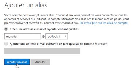 Créer un alias Outlook.com