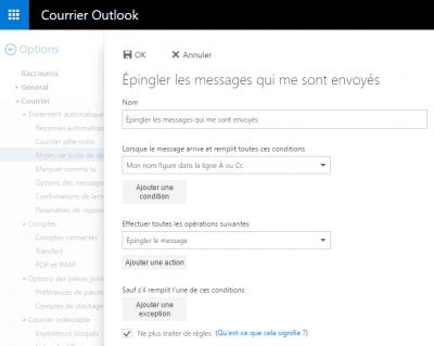 Outlook.com - Créer une nouvelle règle
