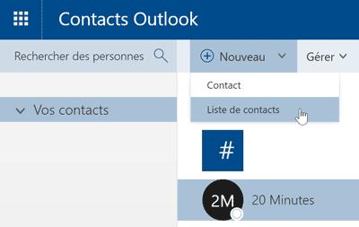 Créer une liste de contacts