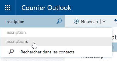 Rechercher dans Outlook.com