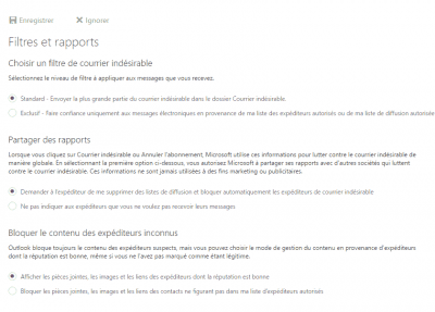 Outlook.com - paramètres antispam