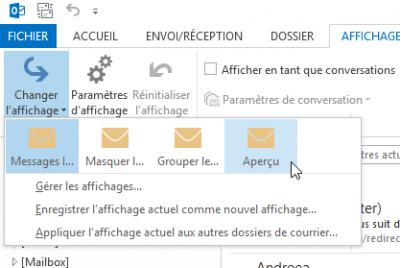Outlook 2013 - Affichage