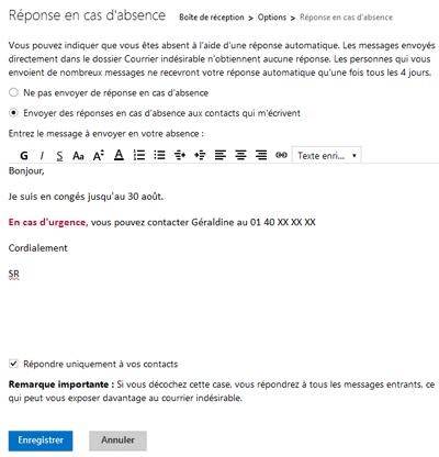 Activer Le Repondeur Automatique Dans Outlook Com Hotmail
