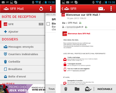 SFR Mail pour Android
