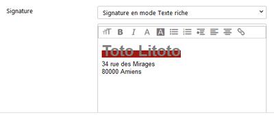 Signature texte riche