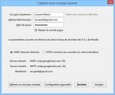 Adresses des serveurs Gmail