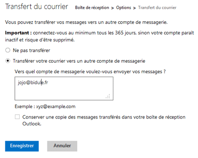Redirection Hotmail