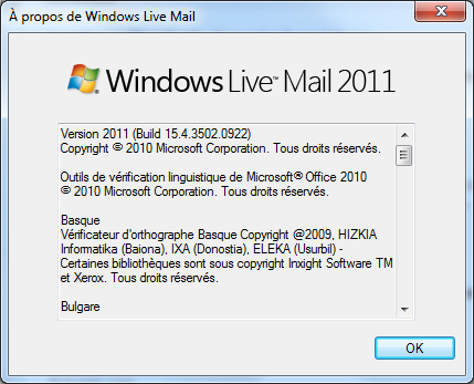A propos de Windows Live Mail