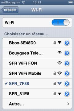 WiFi sur iPhone