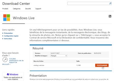 Télécharger Windows Live Mail pour Windows XP