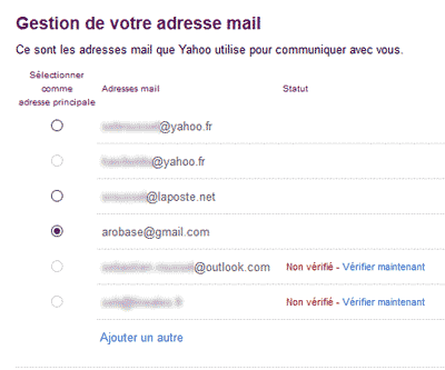 Gestion des adresse mail Yahoo