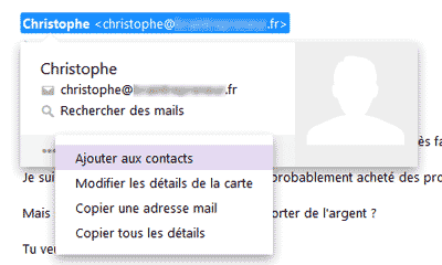 Ajouter aux contacts Yahoo Mail