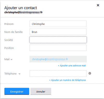 Fiche contact Yahoo Mail