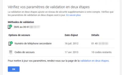 Paramètres de validation en deux étapes