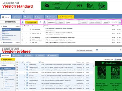 LaPoste.net - versions standard et évoluée