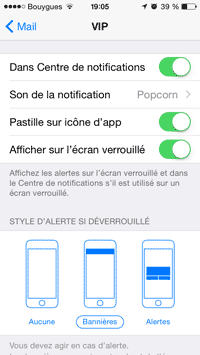 Notifications et alertes VIP
