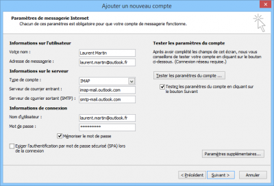 Configuration Outlook.com en IMAP