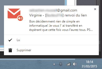 Fenêtre de notification Checker Plus