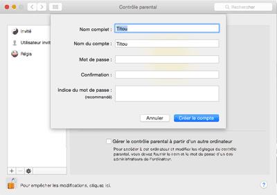 Créer un compte utilisateur sous contrôle parental