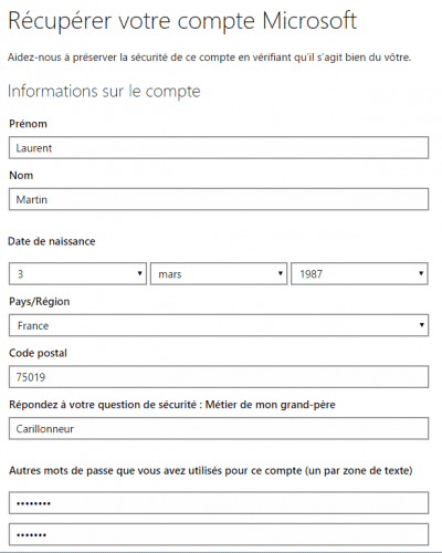 Informations sur le compte Outlook.com