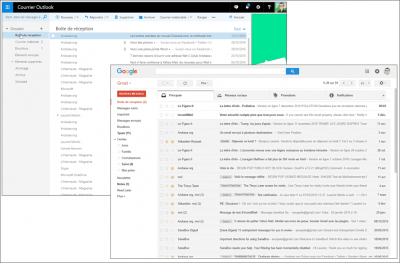 Les interfaces d'Outlook.com et de Gmail