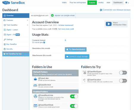 Interface Sanebox