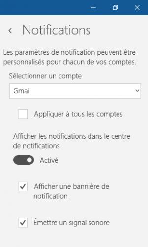 Notification Courrier Windows 10