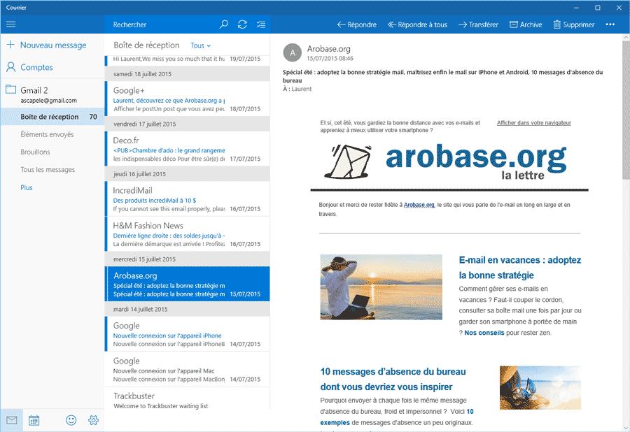 Application Courrier pour Windows 10 : le test
