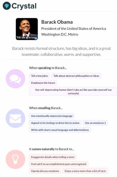 Le profil Crystal de Barack Obama