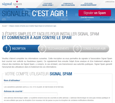 Inscription Signal Spam